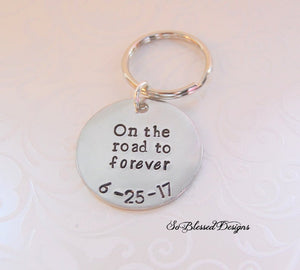 Custom date on the road to forever keychain
