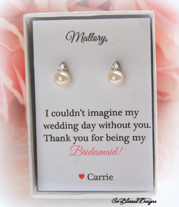 Thank you for being my Bridesmaid Card with pearl earrings