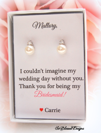 I couldnt imagine my wedding day without you by my side card with pearl earrings