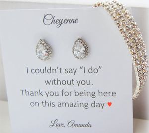 I couldnt say I do without you card with CZ earrings and bracelet set