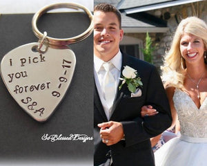 bride and groom right after getting married I pick you forever gift