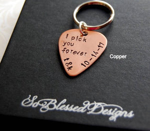 Copper Guitar pick keychain for Groom Gift