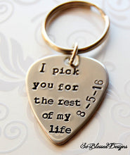 Custom I pick you for the rest of my life with customers wedding date stamped on guitar pick