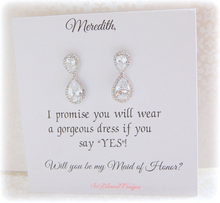 Will you be my Maid of Honor card with teardrop earrings displayed