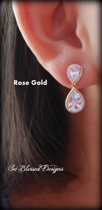Rose Gold Teardrop Wedding earrings worn by bridesmaid