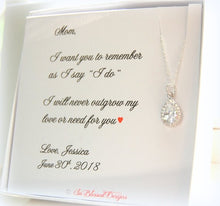 Teardrop necklace displayed on mother of the bride mother of the groom jewelry card