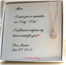rose gold teardrop necklace for mother of bride
