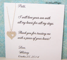 Heart pendant necklace with mother of the groom jewelry card