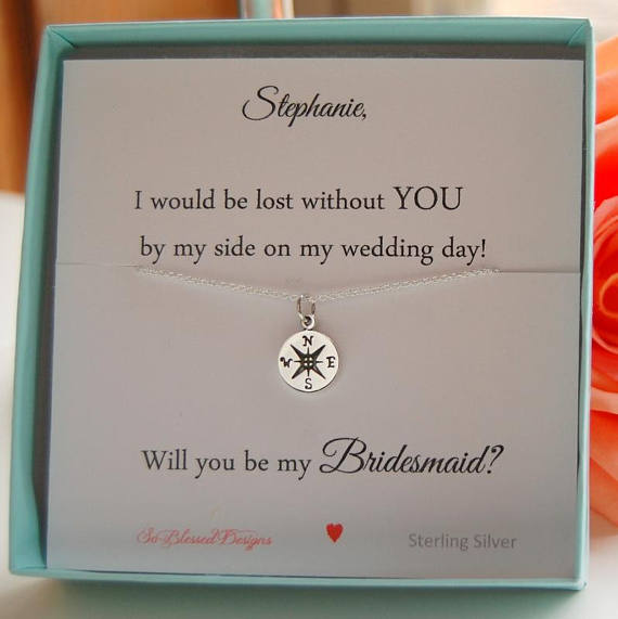 Compass necklace displayed on personalized card for bridesmaid gift Will you be my Bridesmaid