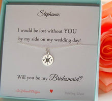 I would be lost without you on my wedding day card and necklace for bridesmaids