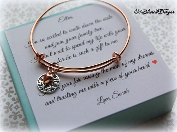 Rose Gold family tree bracelet for mother of the groom