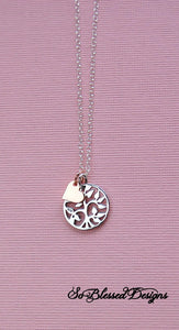 sterling silver family tree necklace with tiny rose gold heart