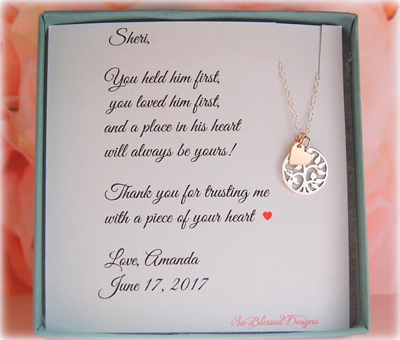 Sterling silver and rose gold family tree necklace with a thank you card to mother of the groom