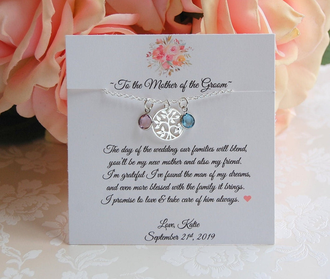 Mother of the Groom Family Tree Necklace with card