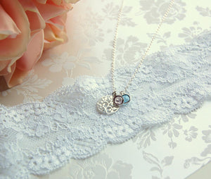 mother of groom necklace with bride and groom birthstones