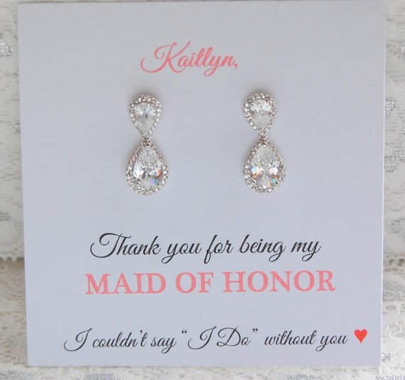 thank you for being my bridesmaid card and earrings set