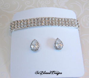 Cubic zirconia earrings and bracelet set for mother of bride
