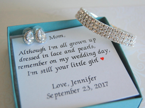 Silver and CZ earrings and bracelet set for mother of the bride