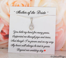 Teardrop CZ necklace on Mother of the Bride jewelry card from Bride
