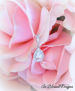 Sterling silver cubic zirconia teardrop pendant necklace