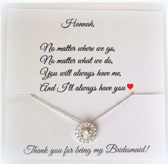 Round solitaire cz necklace with thank you card for bridesmaids