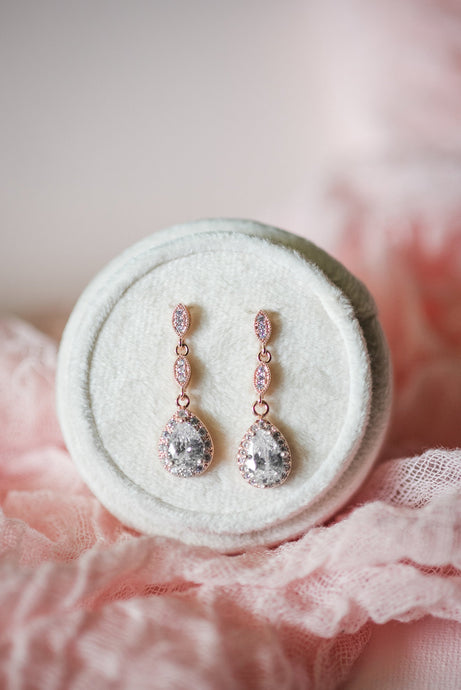 Rose gold drop earrings for bridesmaids