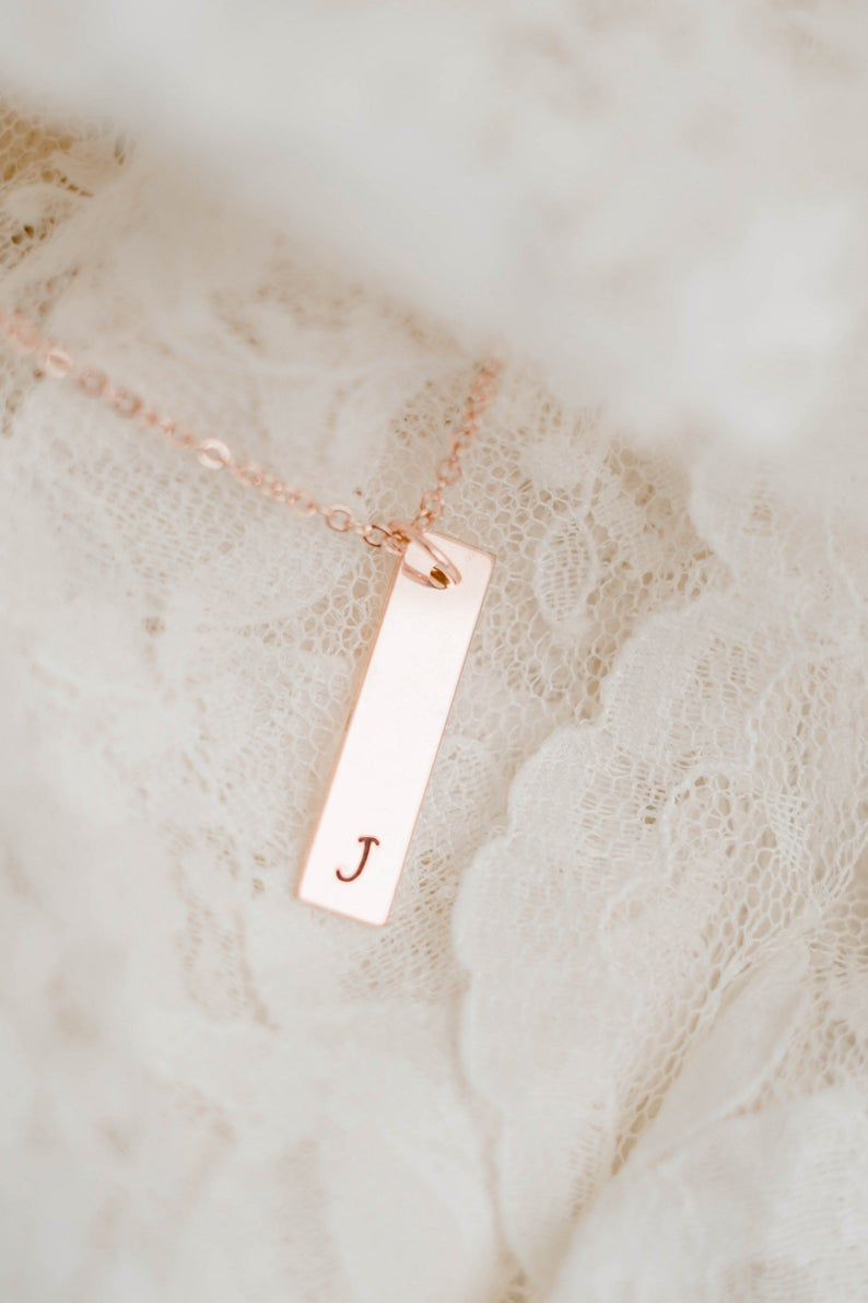 Stunning rose gold initial necklace