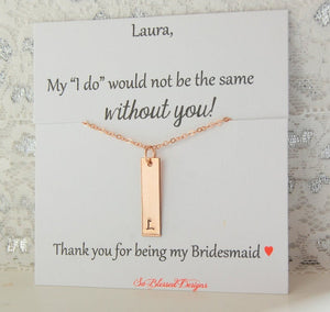 personalized bridesmaid card for bridal party with necklace