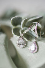 silver CZ bridesmaid earrings