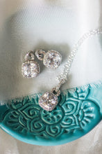 cushion cut set of earrings and necklace