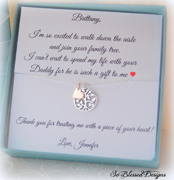 Necklace gift for step daughter from the bride on personalized jewelry card