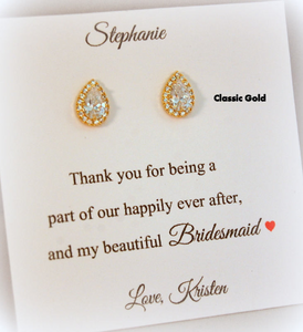 Gold Bridesmaid Teardrop Stud Earrings displayed on thank you for being my bridesmaid card
