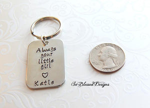 Rectangle Always your little girl keychain