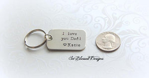 I love you Dad Silver keychain for Father of the Bride