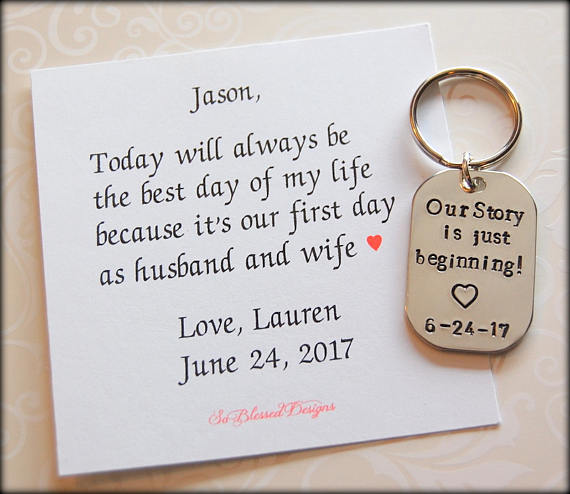 Our story is just beginning keychain for groom from bride