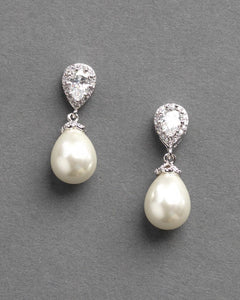 cream pearl and cubic zirconia earrings for bride