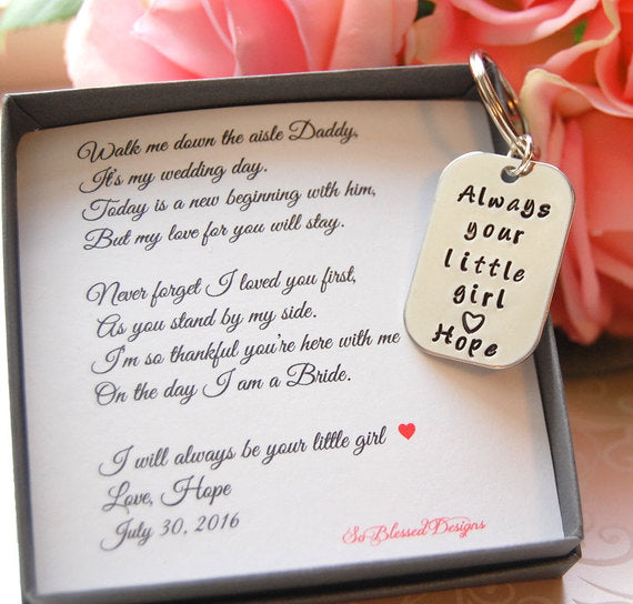Always your little girl keychain from bride on wedding day