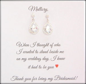 cubic zirconia drop earrings for bridesmaid gifts