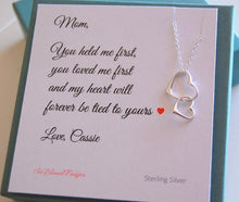 Personalized jewelry card for Mother of the Bride with sterling silver necklace attached