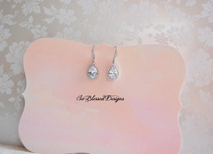 silver and crystal long drop bridal earrings