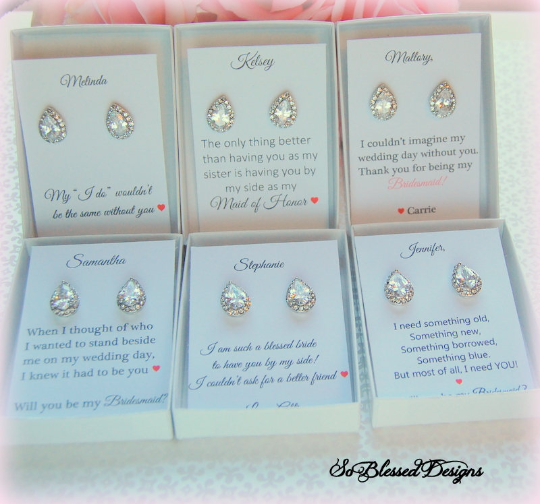 6 sets of teardrop bridesmaid earrings with personalized will you be my bridesamaid cards