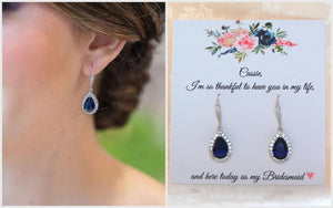 Navy blue cubic zirconia earrings