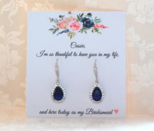 Dark blue earrings on personalized bridesmaid card