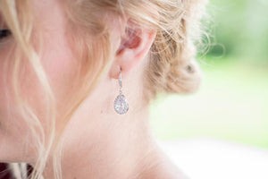 silver and cz bridal earrings