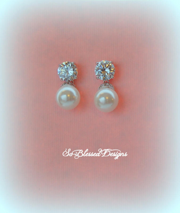 white pearl and cz earrings bridesmaid gifts