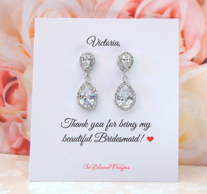 Thank you bridesmaid card and earrings