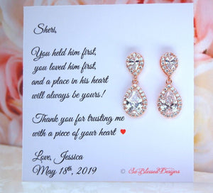 rose gold mother of the groom earrings