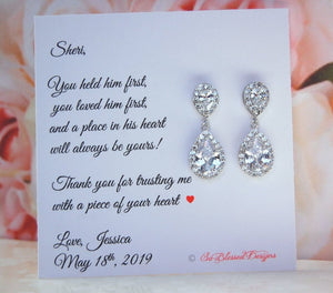 sterling silver teardrop earrings for mother of the groom
