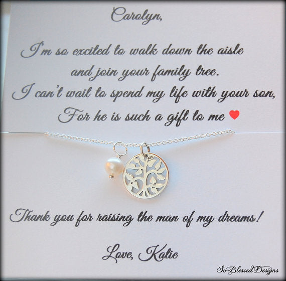 Family tree necklace with personalized card for mother of the groom