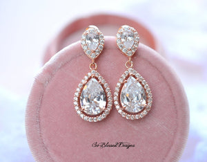 Rose Gold crystal bridal earrings
